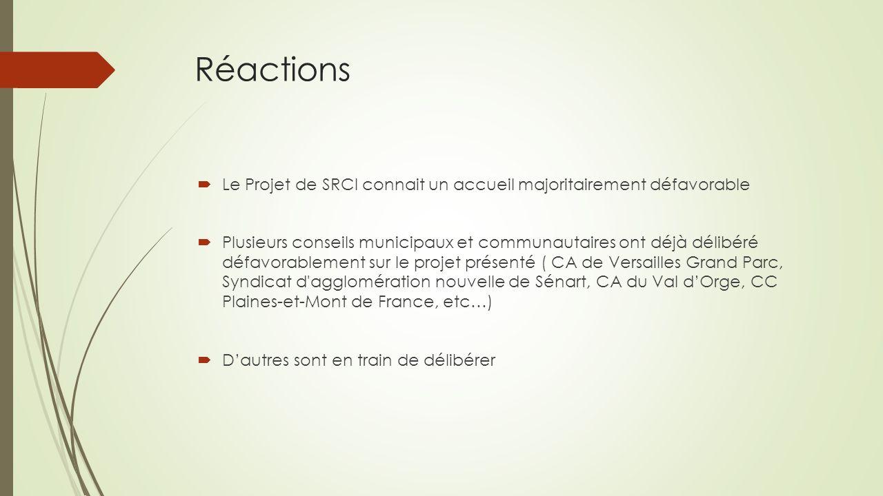 Réactions  Le Projet de SRCI connait un accueil majoritairement défavorable  Plusieurs conseils municipaux et communautaires ont déjà délibéré défav