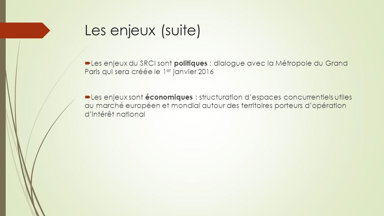 Les enjeux (suite)  Les enjeux du SRCI sont politiques : dialogue avec la Métropole du Grand Paris qui sera créée le 1 er janvier 2016  Les enjeux s