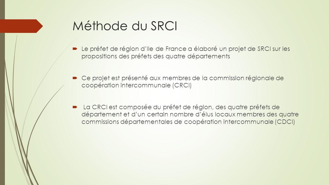 Méthode du SRCI  Le préfet de région d'Ile de France a élaboré un projet de SRCI sur les propositions des préfets des quatre départements  Ce projet