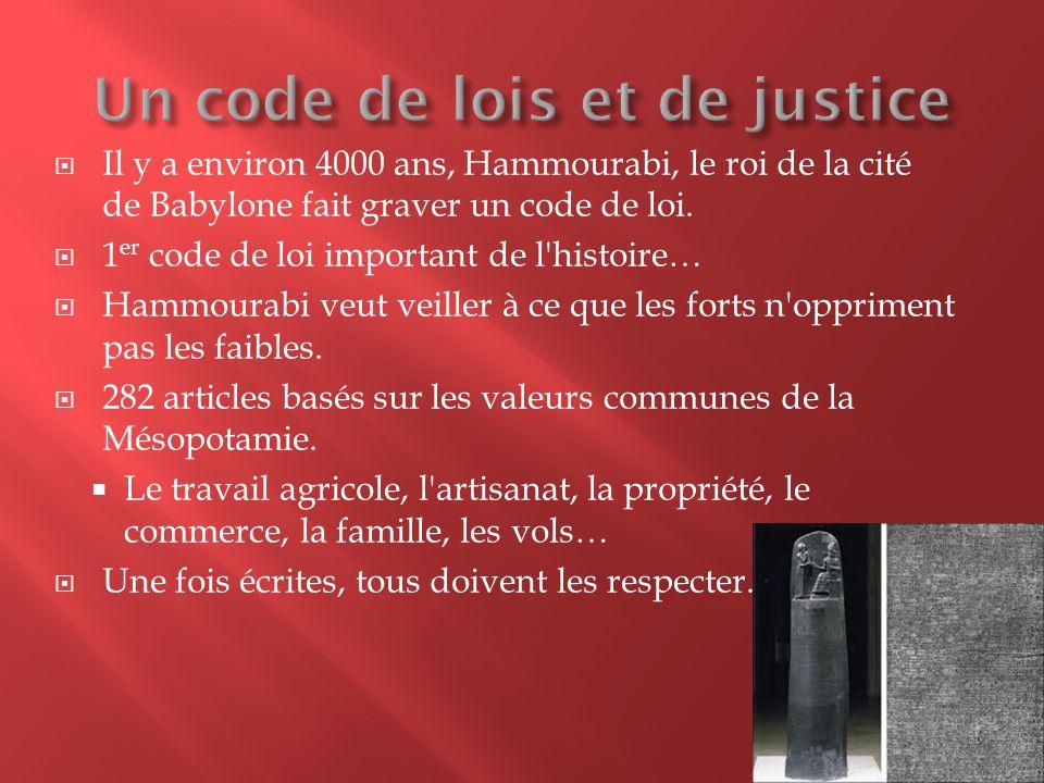  Il y a environ 4000 ans, Hammourabi, le roi de la cité de Babylone fait graver un code de loi.  1 er code de loi important de l'histoire…  Hammour