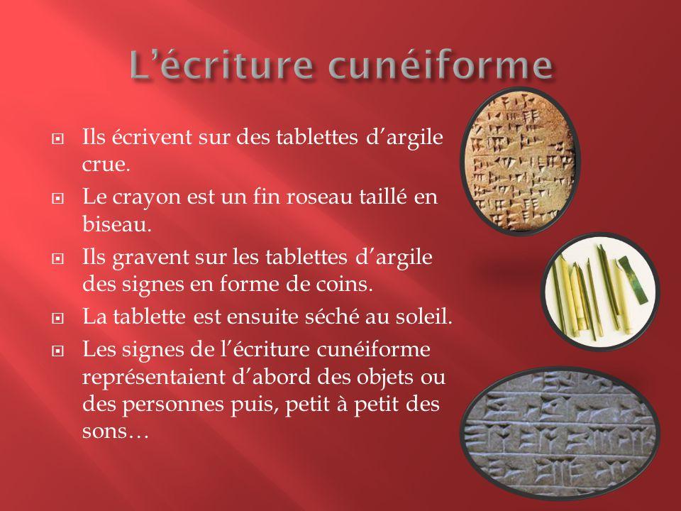  Pour maîtriser le cunéiforme, il faut connaitre un certain nombre de signe de 10 à plusieurs centaines..