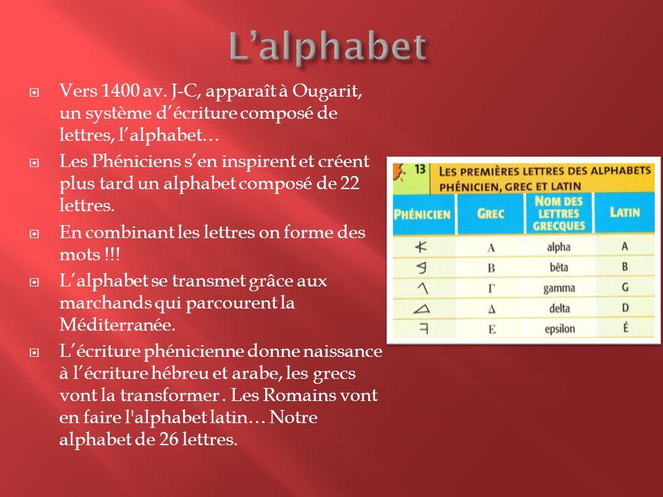  Vers 1400 av. J-C, apparaît à Ougarit, un système d'écriture composé de lettres, l'alphabet…  Les Phéniciens s'en inspirent et créent plus tard un