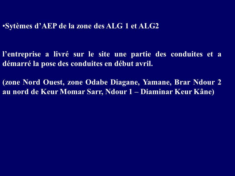 Sytèmes d'AEP de la zone des ALG 1 et ALG2 l'entreprise a livré sur le site une partie des conduites et a démarré la pose des conduites en début avril.