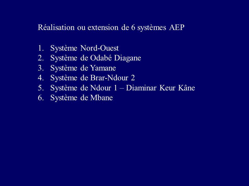 Réalisation ou extension de 6 systèmes AEP 1.Système Nord-Ouest 2.Système de Odabé Diagane 3.Système de Yamane 4.Système de Brar-Ndour 2 5.Système de Ndour 1 – Diaminar Keur Kâne 6.Système de Mbane