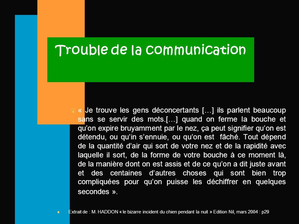 Trouble de la communication < « Je trouve les gens déconcertants […] ils parlent beaucoup sans se servir des mots.[…] quand on ferme la bouche et qu'on expire bruyamment par le nez, ça peut signifier qu'on est détendu, ou qu'in s'ennuie, ou qu'on est fâché.