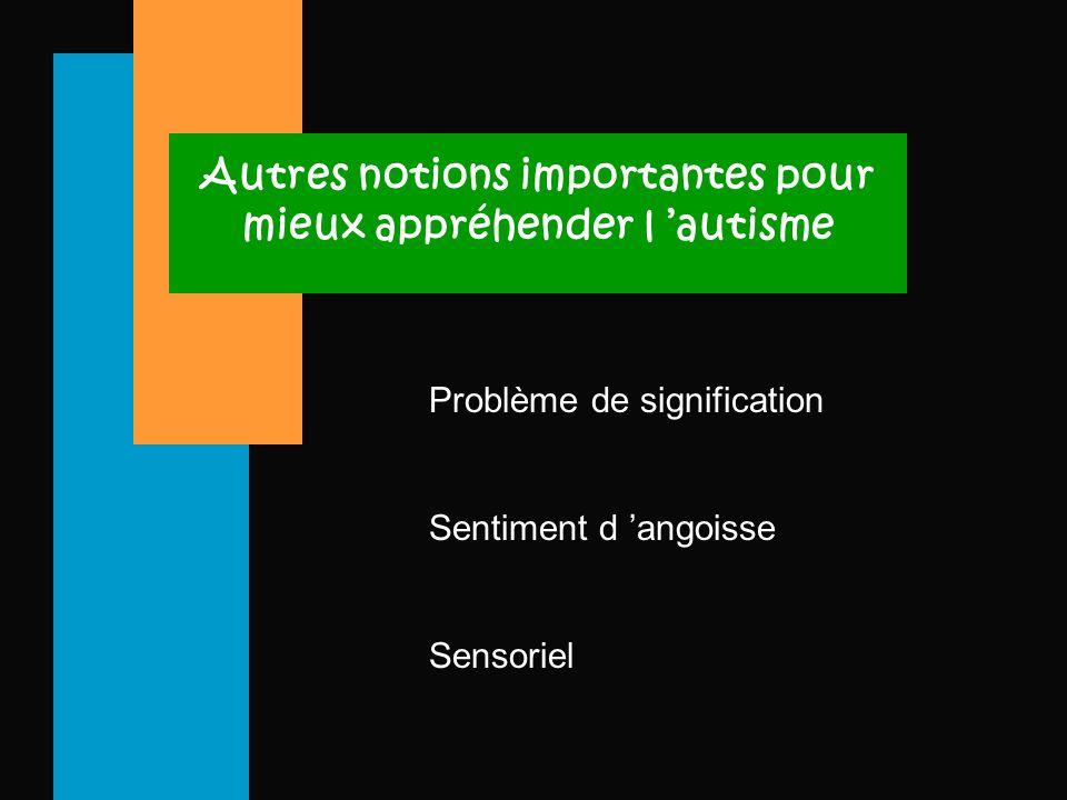 Autres notions importantes pour mieux appréhender l 'autisme Problème de signification Sentiment d 'angoisse Sensoriel