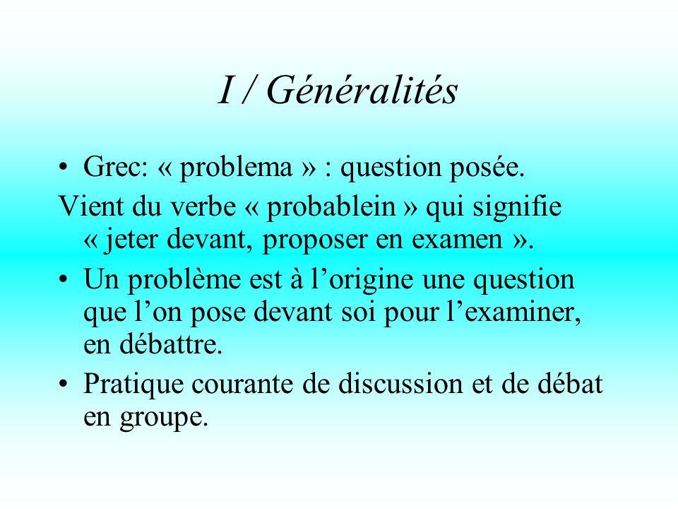 I / Généralités Grec: « problema » : question posée.