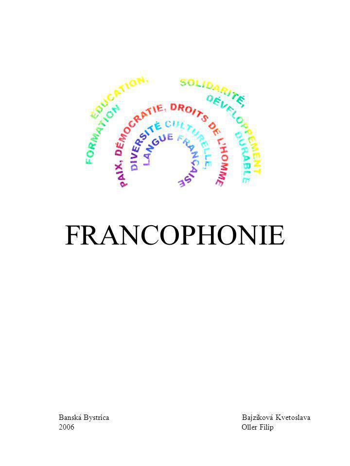 2 LE CONTENU 1 L´introduction ( page n°3) 2 La caractéristique de la Francophonie ( page n° 4 ) 2.1 La Francophonie dans le monde ( page n° 4 ) 2.2 Les organisations soutenant la Francophonie ( page n° 5 ) 2.2.1 Organisation internationale de la Francophonie ( page n° 5 ) 2.2.2 Institut français ( page n° 6 ) 2.2.3 Alliance française ( page n° 7 ) 2.2.4 Les sections bilingues ( page n° 8, 9 ) 2.3 Les moyens de l´expension de la Francophonie ( page n° 10, 11 ) 2.4 Le personnage de la Francophonie ( page n° 12 ) 3 Les résultats obtenus ( page n° 13 ) 4 La discussion ( page n° 14 ) 5 La conclusion ( page n° 15 ) 6 La liste des sources d´informations utilisées ( page n° 16 ) 7 Les fichiers
