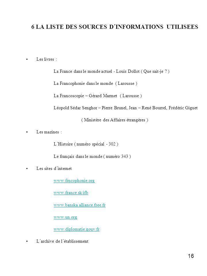16 6 LA LISTE DES SOURCES D´INFORMATIONS UTILISEES Les livres : La France dans le monde actuel - Louis Dollot ( Que sait-je .