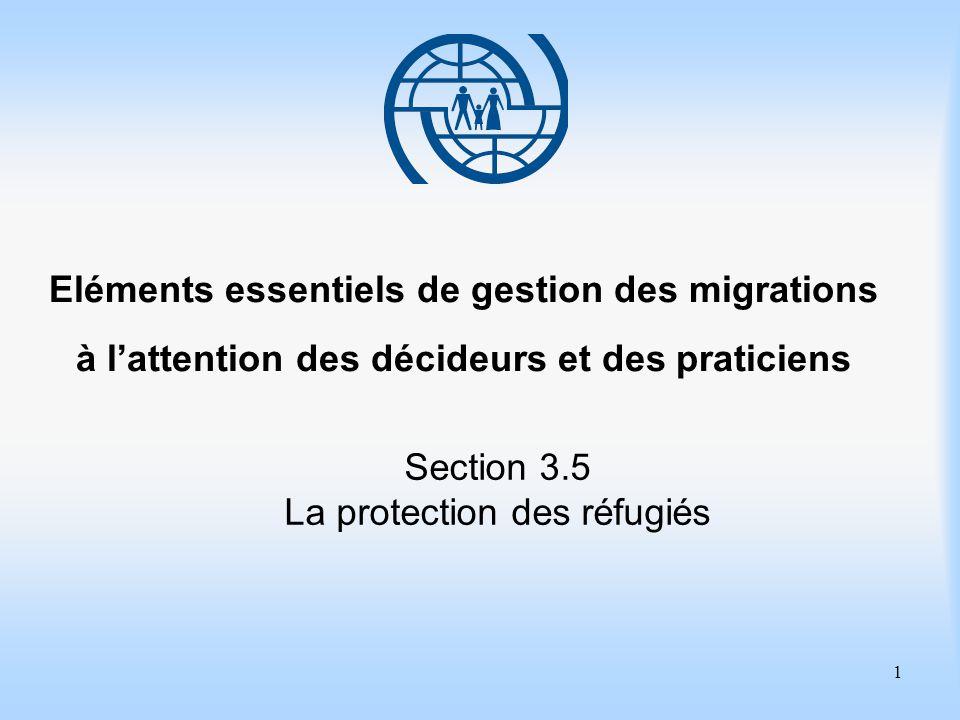 1 Eléments essentiels de gestion des migrations à l'attention des décideurs et des praticiens Section 3.5 La protection des réfugiés