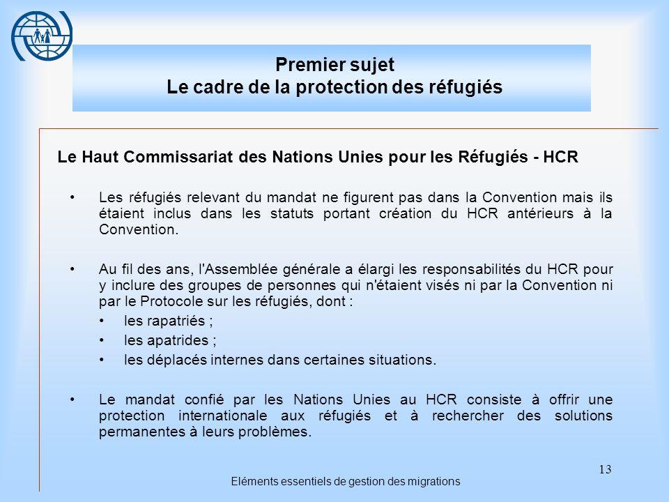 13 Eléments essentiels de gestion des migrations Premier sujet Le cadre de la protection des réfugiés Le Haut Commissariat des Nations Unies pour les Réfugiés - HCR Les réfugiés relevant du mandat ne figurent pas dans la Convention mais ils étaient inclus dans les statuts portant création du HCR antérieurs à la Convention.