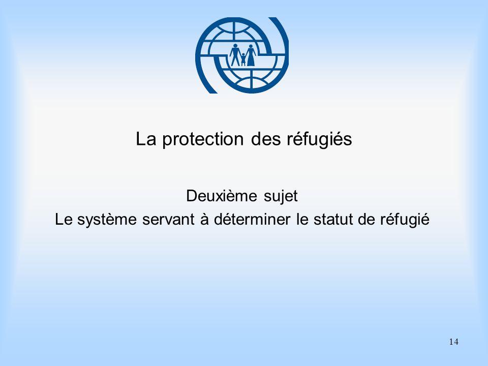 14 La protection des réfugiés Deuxième sujet Le système servant à déterminer le statut de réfugié