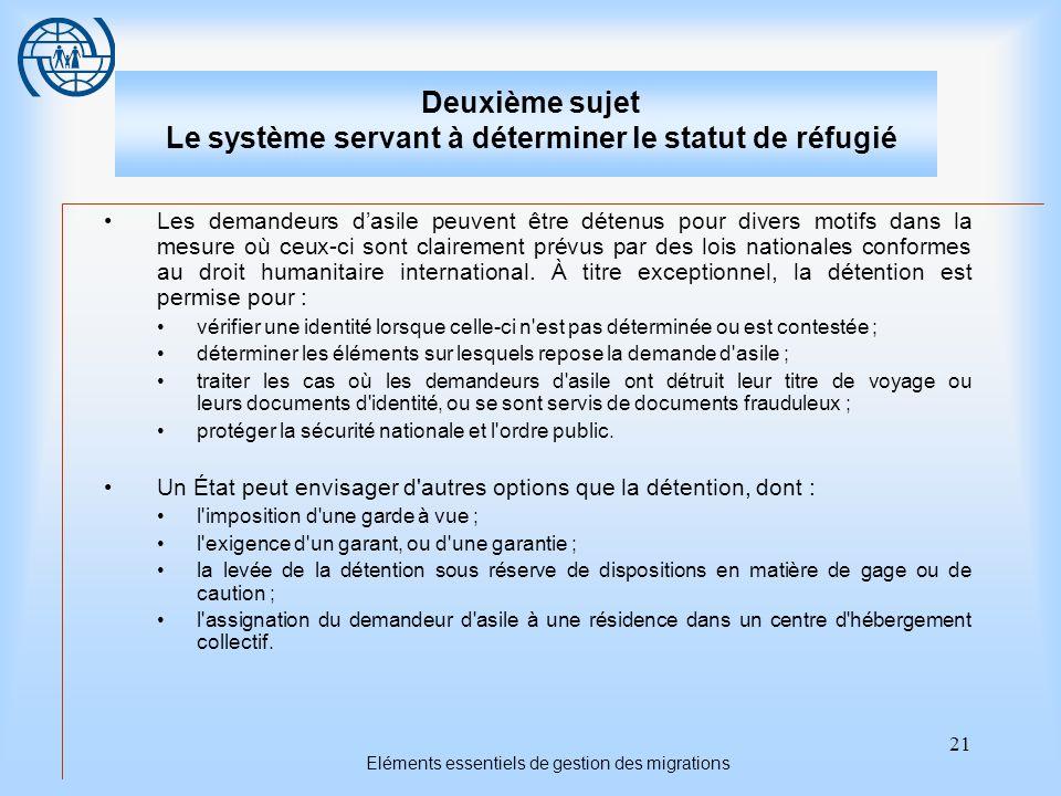 21 Eléments essentiels de gestion des migrations Deuxième sujet Le système servant à déterminer le statut de réfugié Les demandeurs d'asile peuvent être détenus pour divers motifs dans la mesure où ceux-ci sont clairement prévus par des lois nationales conformes au droit humanitaire international.