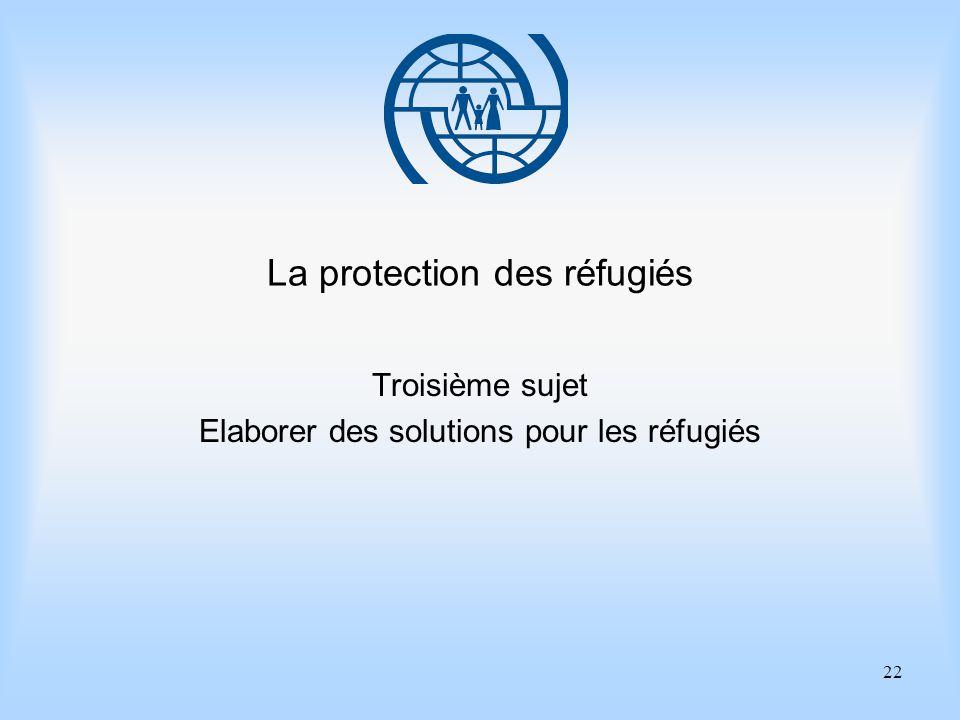 22 La protection des réfugiés Troisième sujet Elaborer des solutions pour les réfugiés