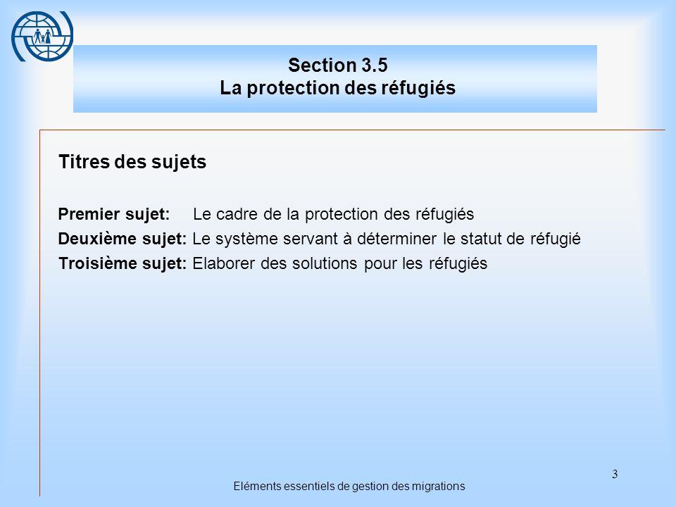 3 Eléments essentiels de gestion des migrations Section 3.5 La protection des réfugiés Titres des sujets Premier sujet: Le cadre de la protection des réfugiés Deuxième sujet: Le système servant à déterminer le statut de réfugié Troisième sujet: Elaborer des solutions pour les réfugiés