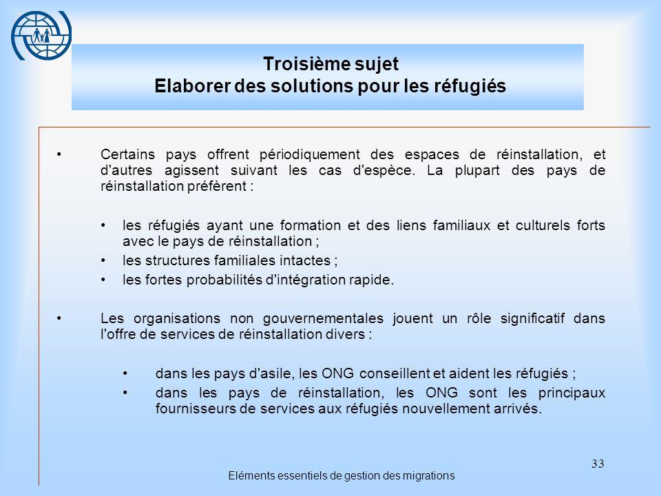 33 Eléments essentiels de gestion des migrations Troisième sujet Elaborer des solutions pour les réfugiés Certains pays offrent périodiquement des espaces de réinstallation, et d autres agissent suivant les cas d espèce.