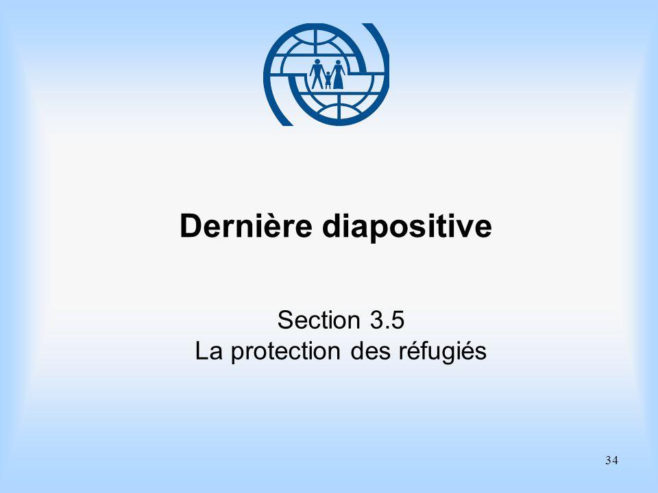 34 Dernière diapositive Section 3.5 La protection des réfugiés