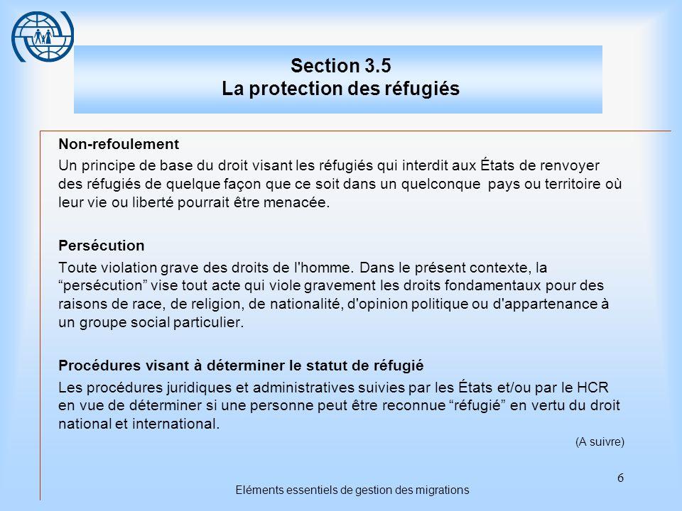 6 Eléments essentiels de gestion des migrations Section 3.5 La protection des réfugiés Non-refoulement Un principe de base du droit visant les réfugiés qui interdit aux États de renvoyer des réfugiés de quelque façon que ce soit dans un quelconque pays ou territoire où leur vie ou liberté pourrait être menacée.