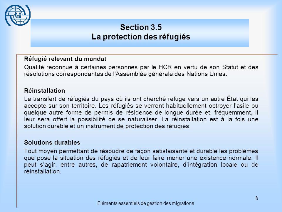 8 Eléments essentiels de gestion des migrations Section 3.5 La protection des réfugiés Réfugié relevant du mandat Qualité reconnue à certaines personnes par le HCR en vertu de son Statut et des résolutions correspondantes de l Assemblée générale des Nations Unies.