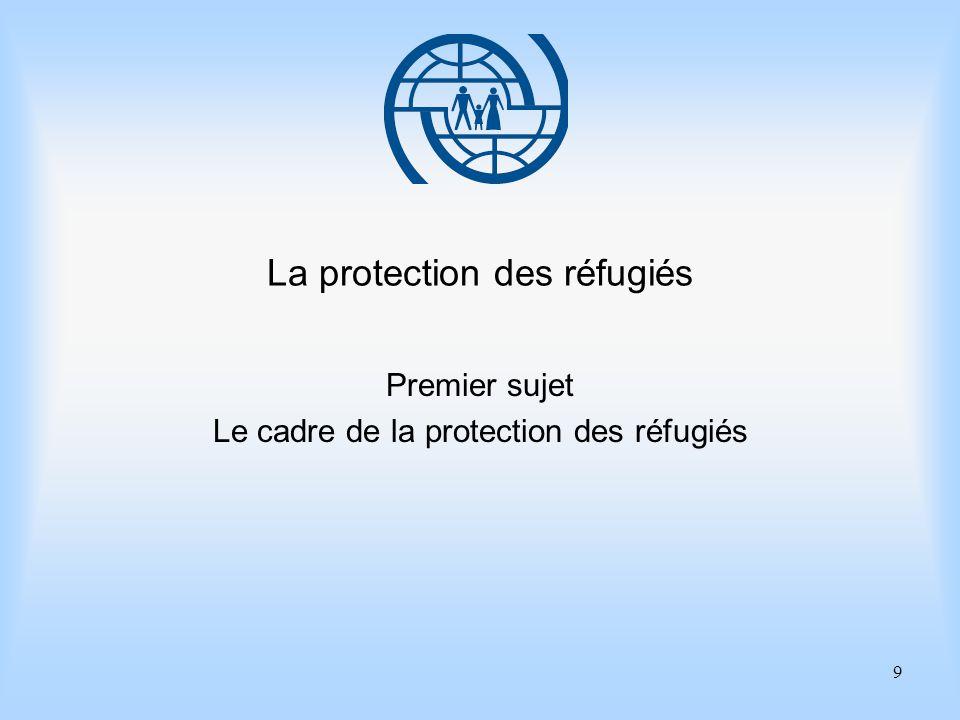 9 La protection des réfugiés Premier sujet Le cadre de la protection des réfugiés