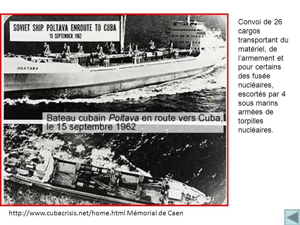 Convoi de 26 cargos transportant du matériel, de l'armement et pour certains des fusée nucléaires, escortés par 4 sous marins armées de torpilles nucléaires.