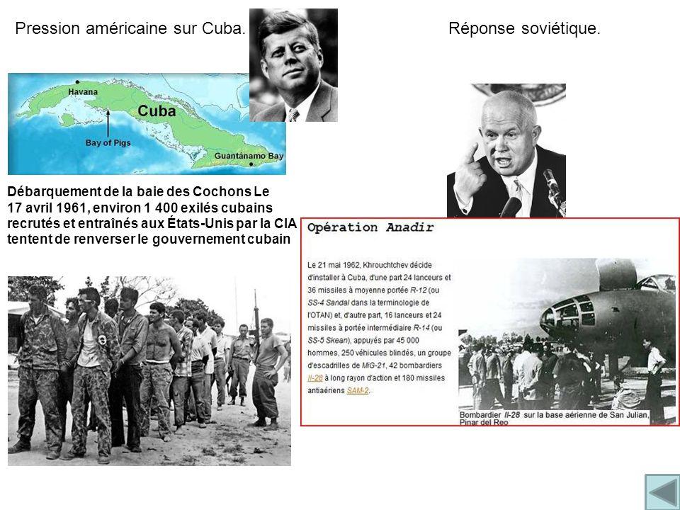 Débarquement de la baie des Cochons Le 17 avril 1961, environ 1 400 exilés cubains recrutés et entraînés aux États-Unis par la CIA tentent de renverser le gouvernement cubain Pression américaine sur Cuba.Réponse soviétique.