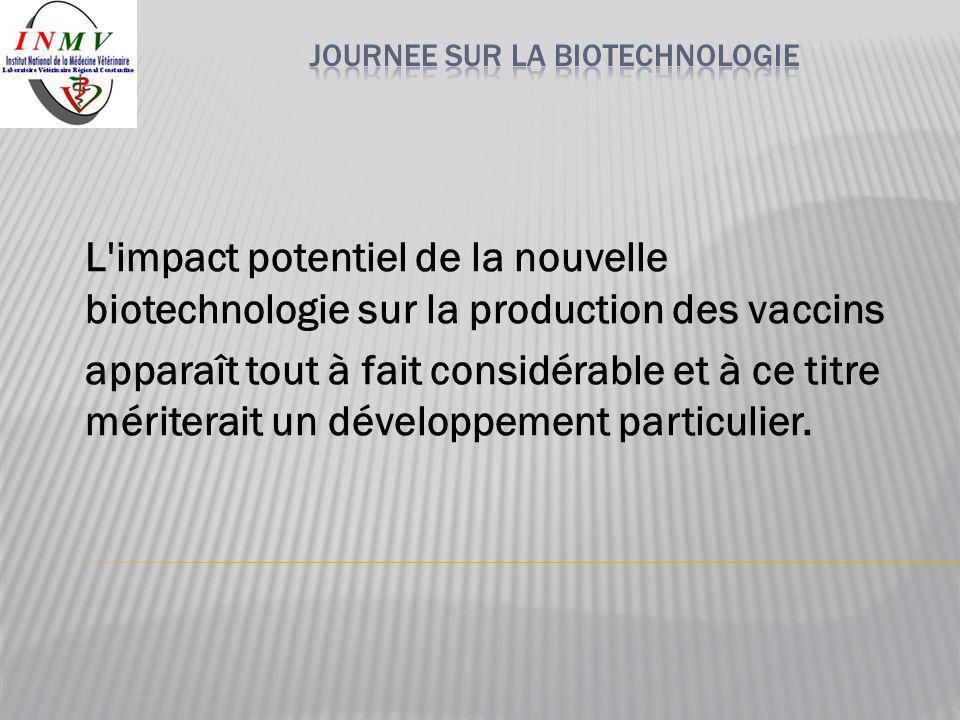 L'impact potentiel de la nouvelle biotechnologie sur la production des vaccins apparaît tout à fait considérable et à ce titre mériterait un développe