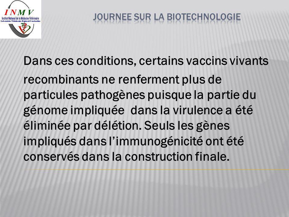 Dans ces conditions, certains vaccins vivants recombinants ne renferment plus de particules pathogènes puisque la partie du génome impliquée dans la v