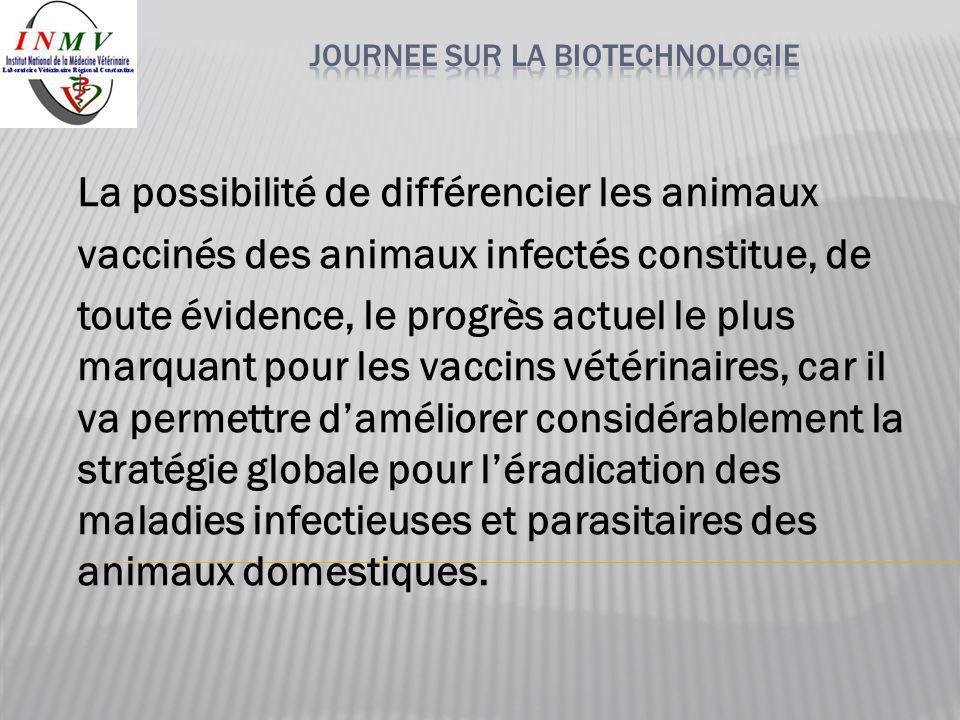 La possibilité de différencier les animaux vaccinés des animaux infectés constitue, de toute évidence, le progrès actuel le plus marquant pour les vac