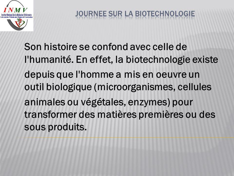 Son histoire se confond avec celle de l'humanité. En effet, la biotechnologie existe depuis que l'homme a mis en oeuvre un outil biologique (microorga