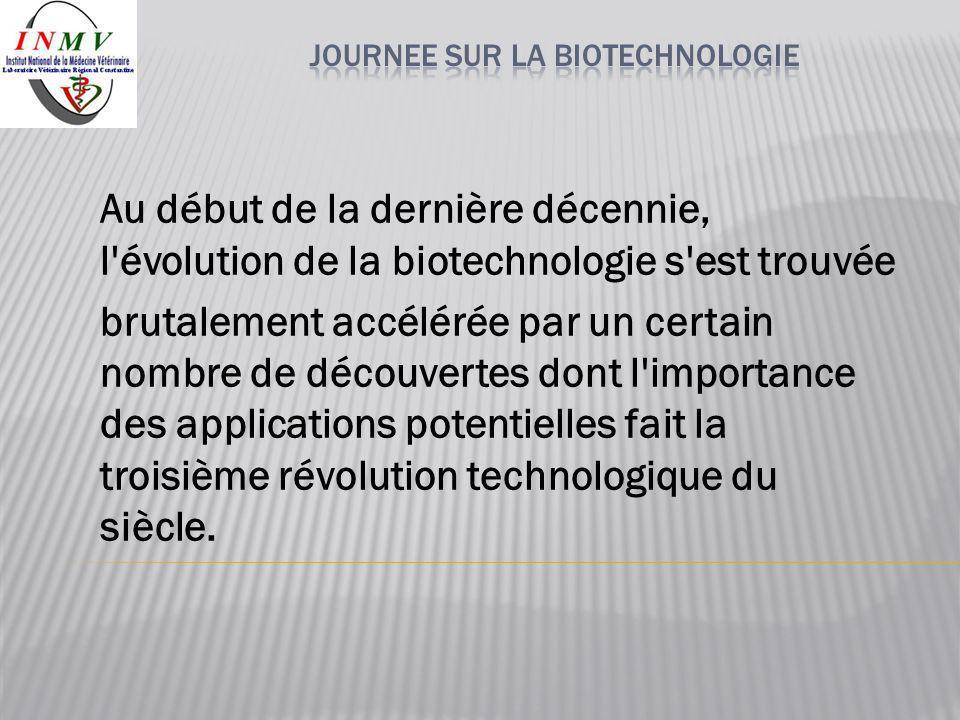 Au début de la dernière décennie, l'évolution de la biotechnologie s'est trouvée brutalement accélérée par un certain nombre de découvertes dont l'imp