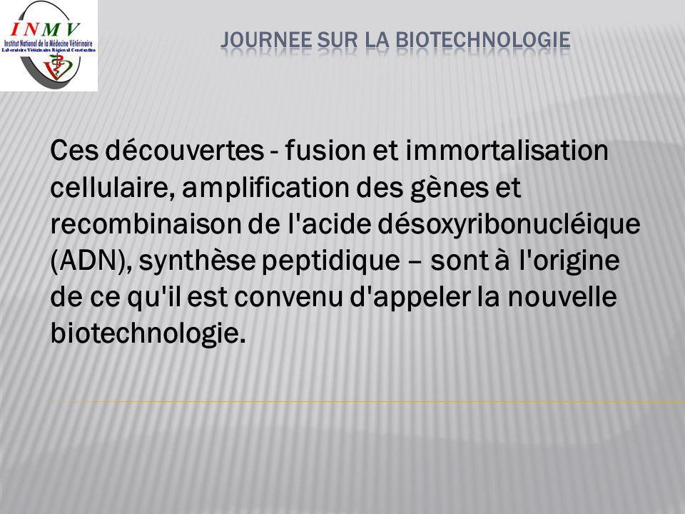 Ces découvertes - fusion et immortalisation cellulaire, amplification des gènes et recombinaison de l'acide désoxyribonucléique (ADN), synthèse peptid