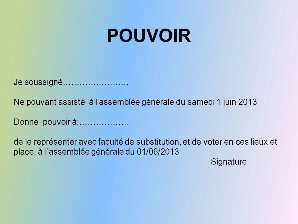 POUVOIR Je soussigné…………………… Ne pouvant assisté à l'assemblée générale du samedi 1 juin 2013 Donne pouvoir à:……………… de le représenter avec faculté de