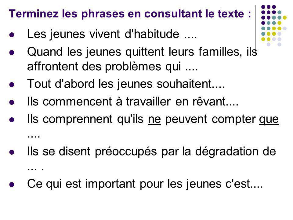 Terminez les phrases en consultant le texte : Les jeunes vivent d'habitude.... Quand les jeunes quittent leurs familles, ils affrontent des problèmes