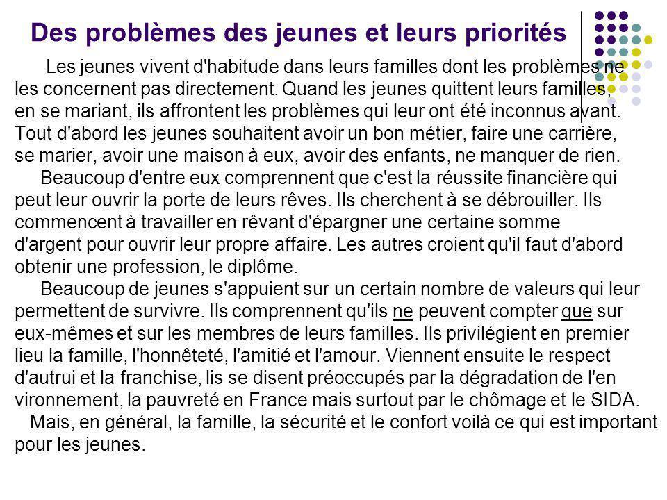 Des problèmes des jeunes et leurs priorités Les jeunes vivent d'habitude dans leurs familles dont les problèmes ne les concernent pas directement. Qua
