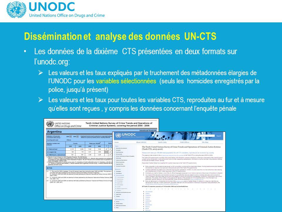 Dissémination et analyse des données UN-CTS Les données de la dixième CTS présentées en deux formats sur l'unodc.org:  Les valeurs et les taux expliq