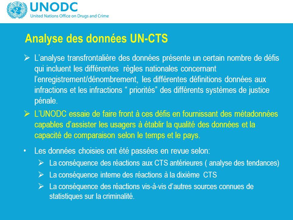 Analyse des données UN-CTS  L'analyse transfrontalière des données présente un certain nombre de défis qui incluent les différentes règles nationales