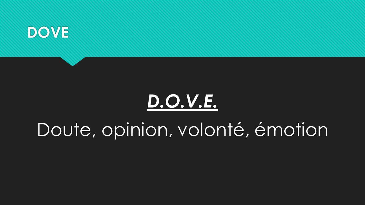 DOVE D.O.V.E. Doute, opinion, volonté, émotion D.O.V.E. Doute, opinion, volonté, émotion