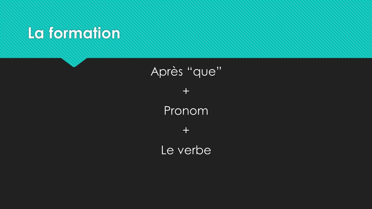 La formation Après que + Pronom + Le verbe Après que + Pronom + Le verbe