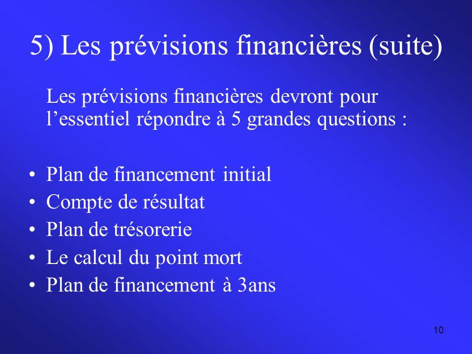 10 5) Les prévisions financières (suite) Les prévisions financières devront pour l'essentiel répondre à 5 grandes questions : Plan de financement init
