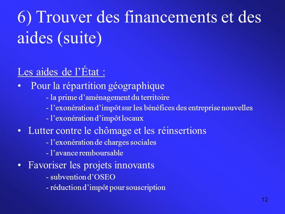 12 6) Trouver des financements et des aides (suite) Les aides de l'État : Pour la répartition géographique - la prime d'aménagement du territoire - l'