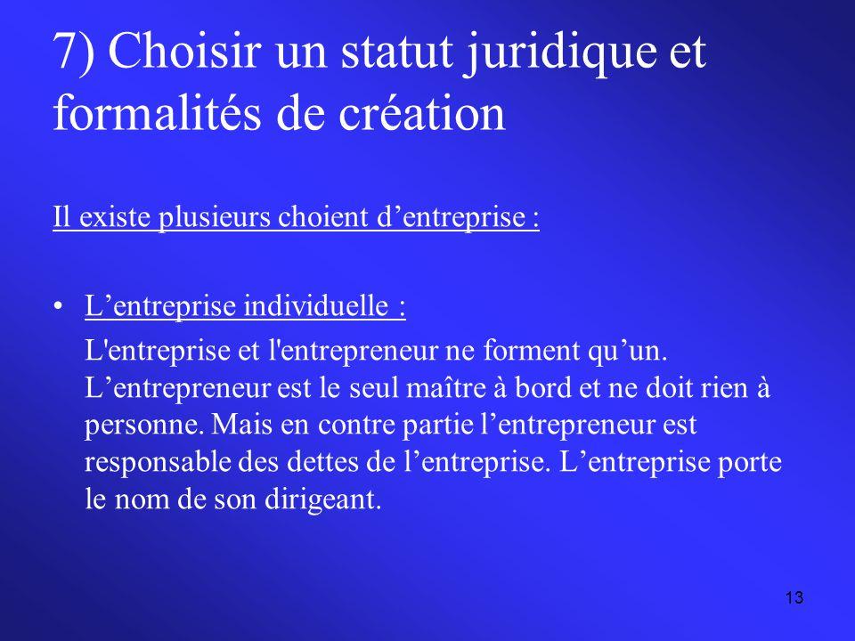 13 7) Choisir un statut juridique et formalités de création Il existe plusieurs choient d'entreprise : L'entreprise individuelle : L'entreprise et l'e