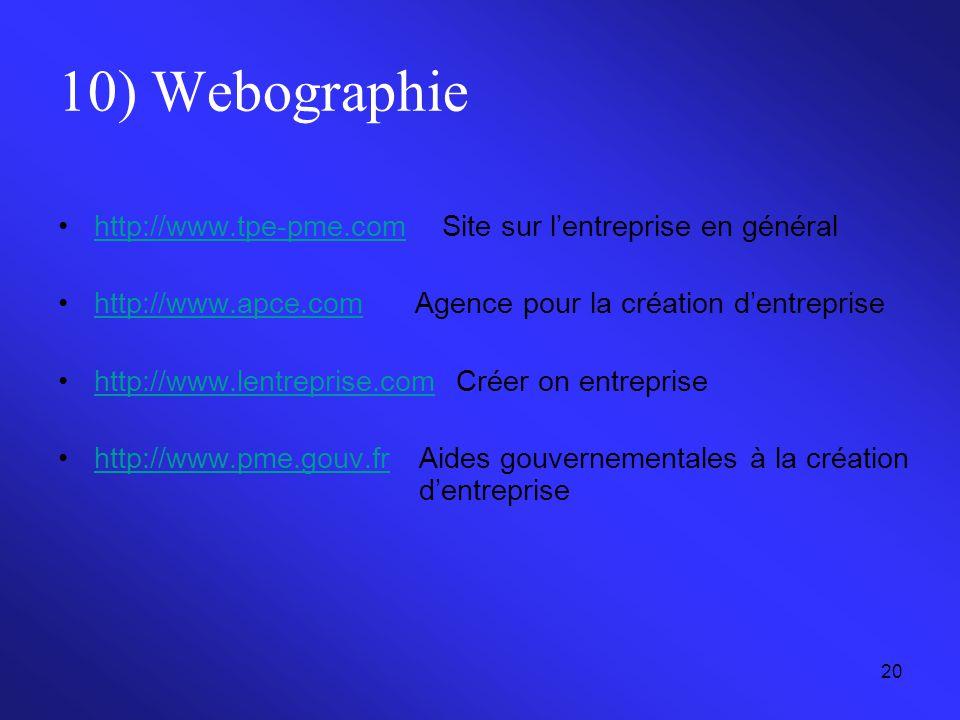 20 10) Webographie http://www.tpe-pme.comSite sur l'entreprise en généralhttp://www.tpe-pme.com http://www.apce.com Agence pour la création d'entrepri