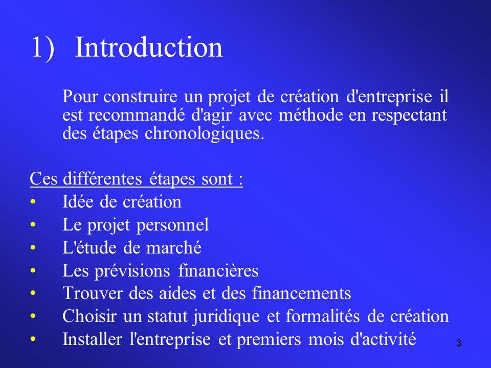3 1)Introduction Pour construire un projet de création d'entreprise il est recommandé d'agir avec méthode en respectant des étapes chronologiques. Ces