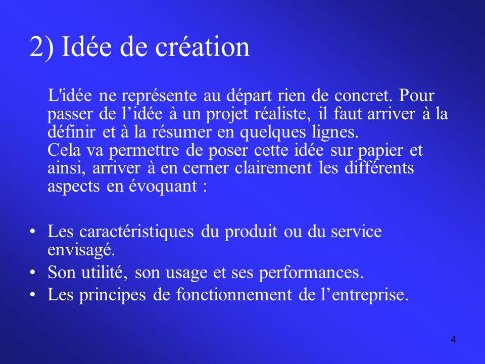 4 2) Idée de création L'idée ne représente au départ rien de concret. Pour passer de l'idée à un projet réaliste, il faut arriver à la définir et à la