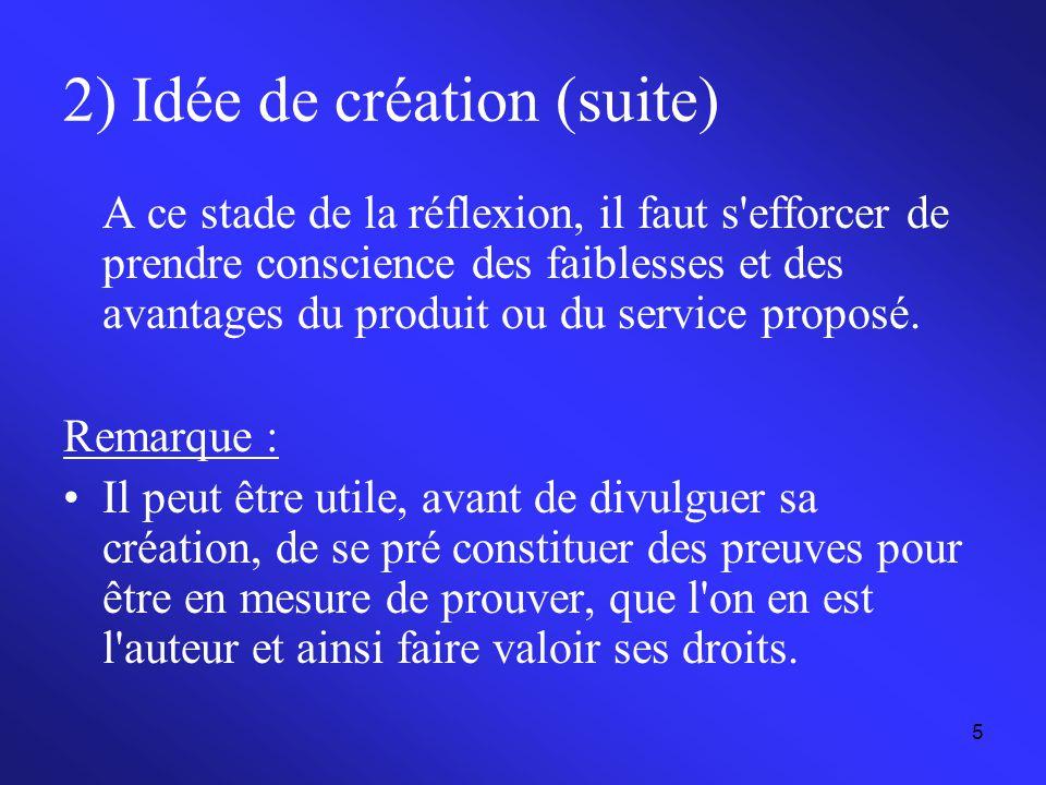 5 2) Idée de création (suite) A ce stade de la réflexion, il faut s'efforcer de prendre conscience des faiblesses et des avantages du produit ou du se