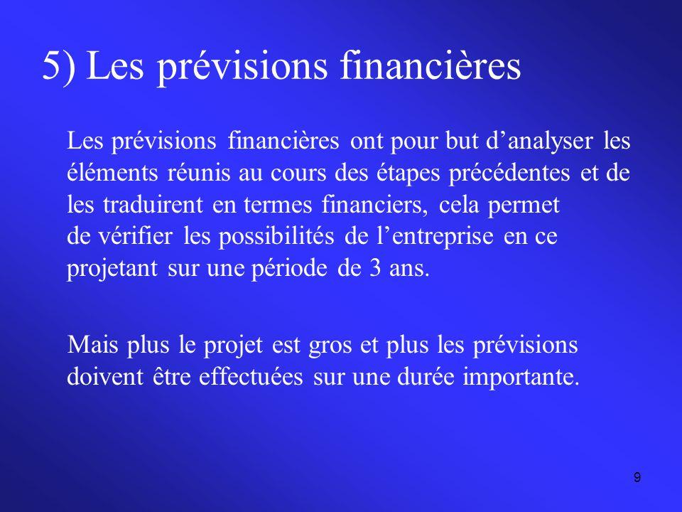 9 5) Les prévisions financières Les prévisions financières ont pour but d'analyser les éléments réunis au cours des étapes précédentes et de les tradu