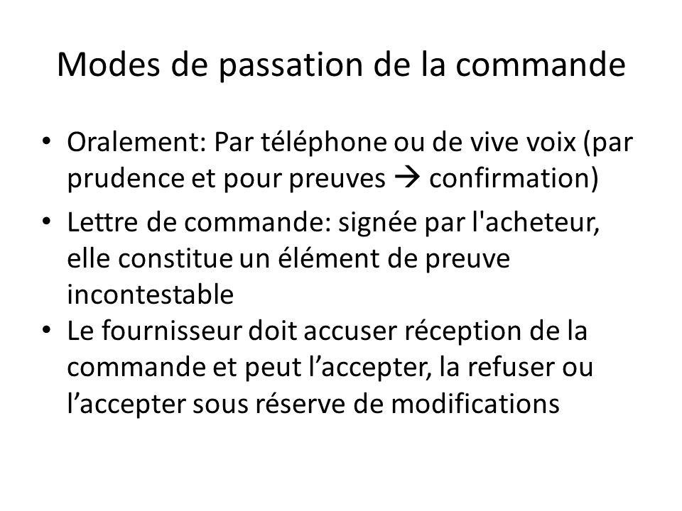 Modes de passation de la commande Oralement: Par téléphone ou de vive voix (par prudence et pour preuves  confirmation) Lettre de commande: signée pa