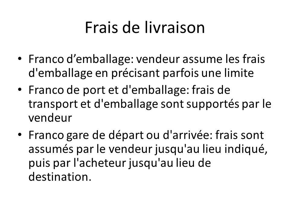 Frais de livraison Franco d'emballage: vendeur assume les frais d'emballage en précisant parfois une limite Franco de port et d'emballage: frais de tr
