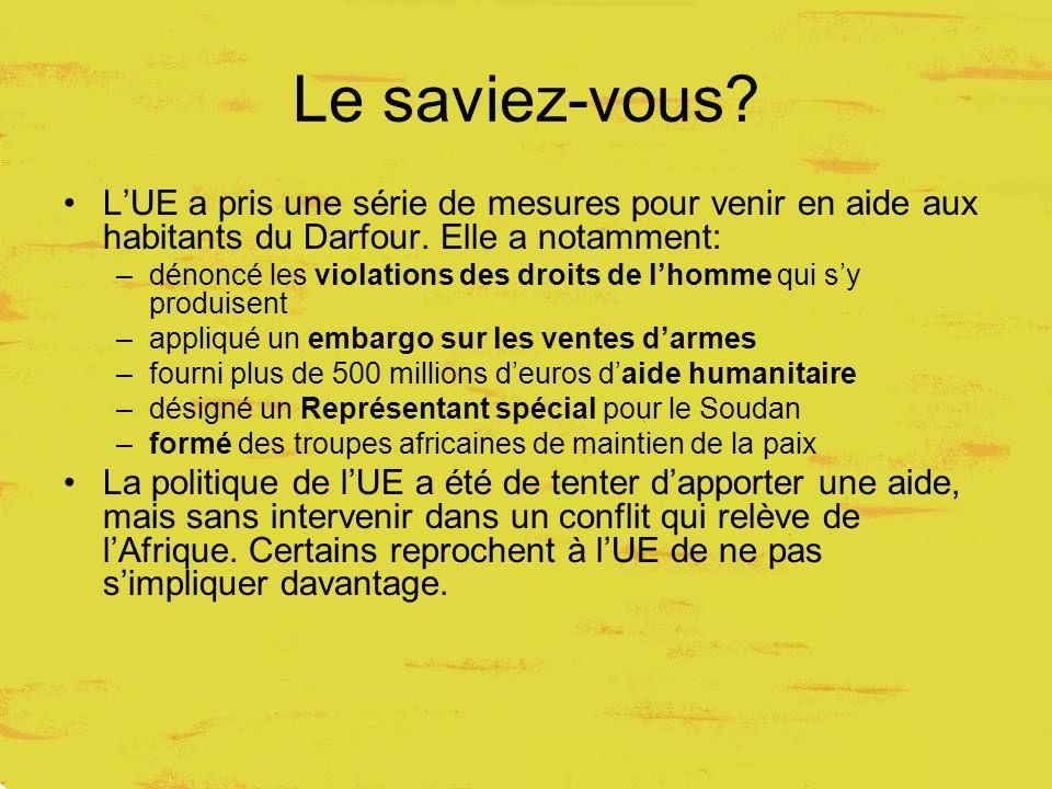 Le saviez-vous. L'UE a pris une série de mesures pour venir en aide aux habitants du Darfour.